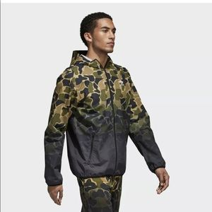 New adidas camo hooded zip up windbreaker CE1545